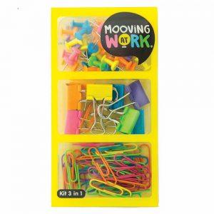 kit mooving 3 en 1 chinches galera, binder clips y clips de colores