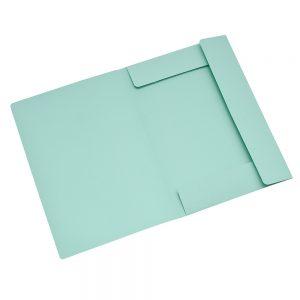 carpeta cartulina 3 solapas verde oficio