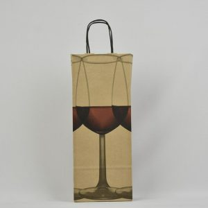 bolsa de papel kraft para botella con dibujo de copas
