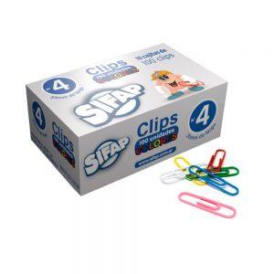 clips sifap forrados multicolor nº4 x 100 unidades