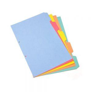 separador color a4 cartulina 5 div